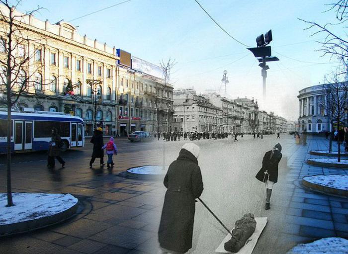 Ленинград периода Великой Отечественной войны и современный Санкт-Петербург в проникновенном цикле фотоколлажей