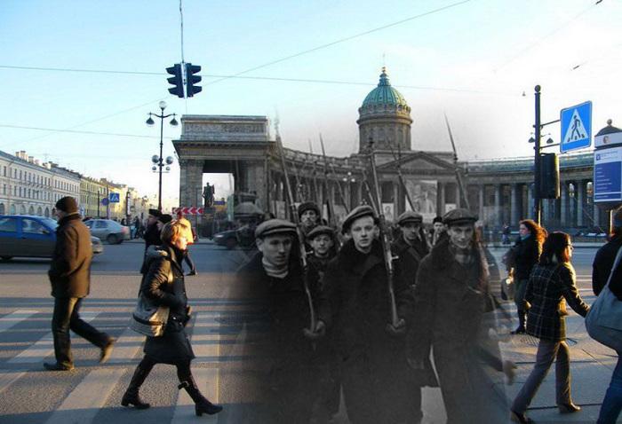 Блокадный Ленинград и современный Санкт-Петербург на фотографиях