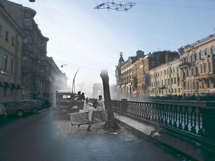 Блокадный Ленинград и современный Санкт-Петербург на 27 проникновенных фотоколлажах