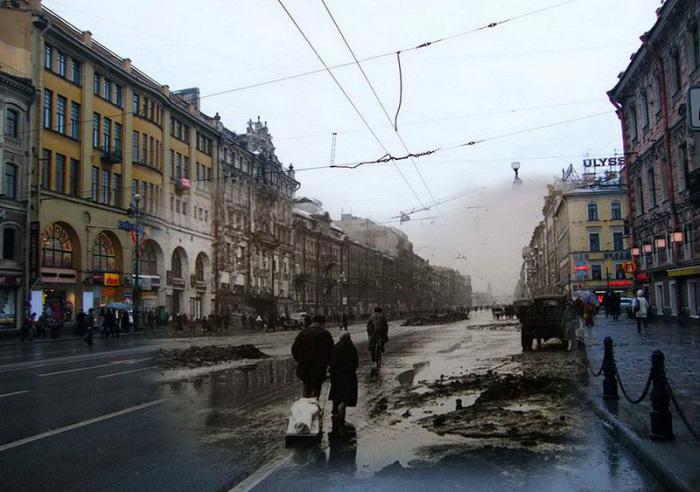 Блокадный Ленинград и современный Санкт-Петербург на фото