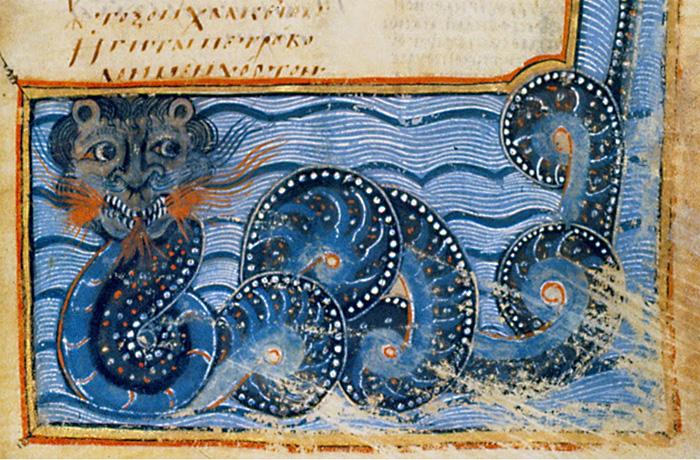 Изображение Левиафана из Византийской книги, XI век.