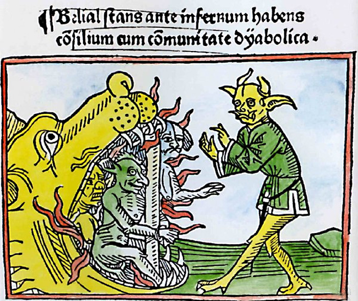 Врата ада в виде пасти Левиафана. Гравюра на дереве, книга «Процесс Велиала» (1473) Якоба де Терамо.