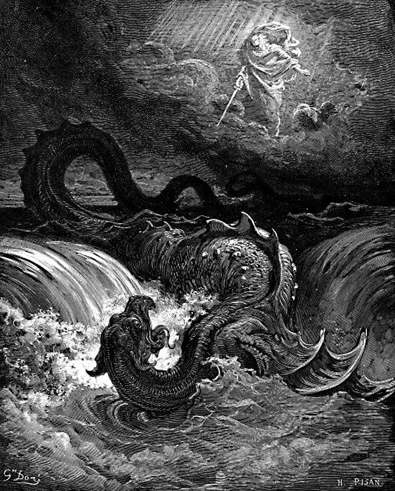 Убийство Левиафана. Гравюра Гюстава Доре, 1865 год.