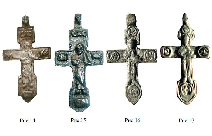 Средневековые килевидные кресты с изображением благословляющего Христа