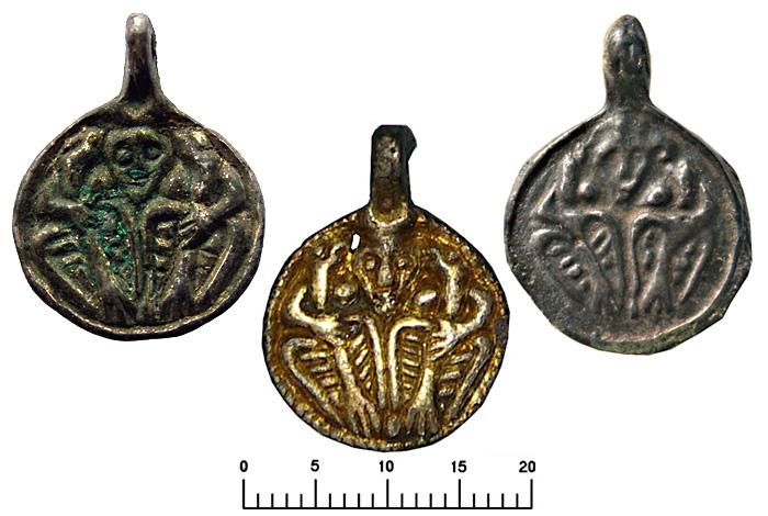 Подвески монетовидные 'Один и вороны'.  Литье X-XI вв