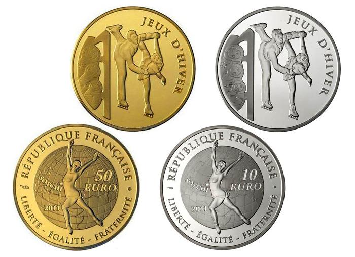 Памятные монеты Франции - «Фигурное катание». Зимняя Олимпиада в Сочи - 2014.