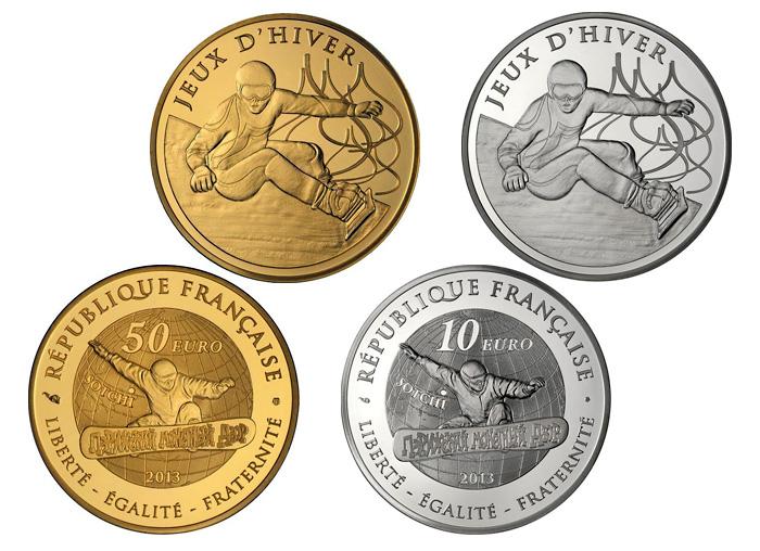 Памятные монеты Франции с изображением сноубординга. Зимние Олимпийские игры в Сочи-2014.