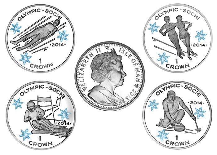 Зимняя Олимпиада в Сочи-2014. Памятные монеты острова Мэн.