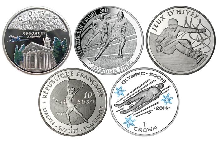 Памятные монеты - зимние Олимпийские игры в Сочи-2014.