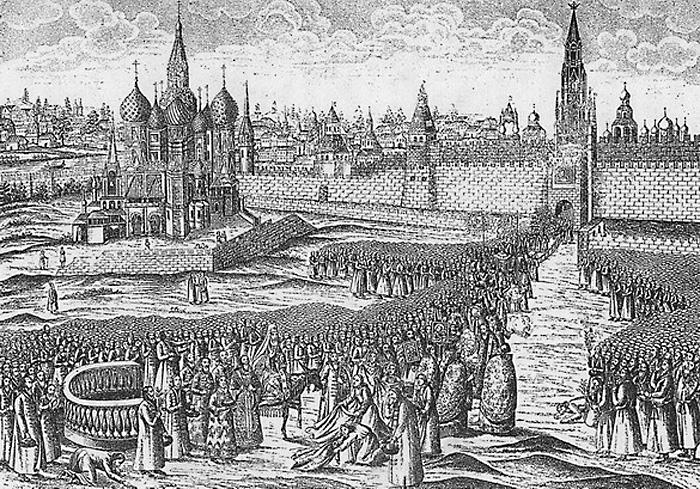 Вербное воскресенье. Шествие Патриарха на осляти с Красной площади в XVII веке.