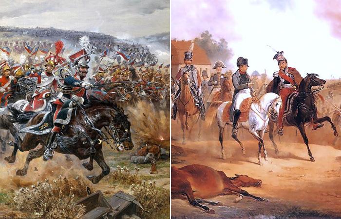 Последняя атака Понятовского. / Наполеон и Понятовский в битве под Лейпцигом.