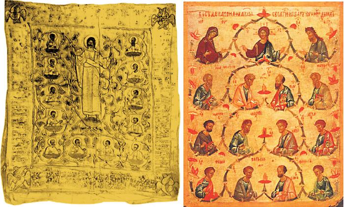Пелена 'Христос с апостолами' 1510 г. / 'Собор святых апостолов' икона XV века.
