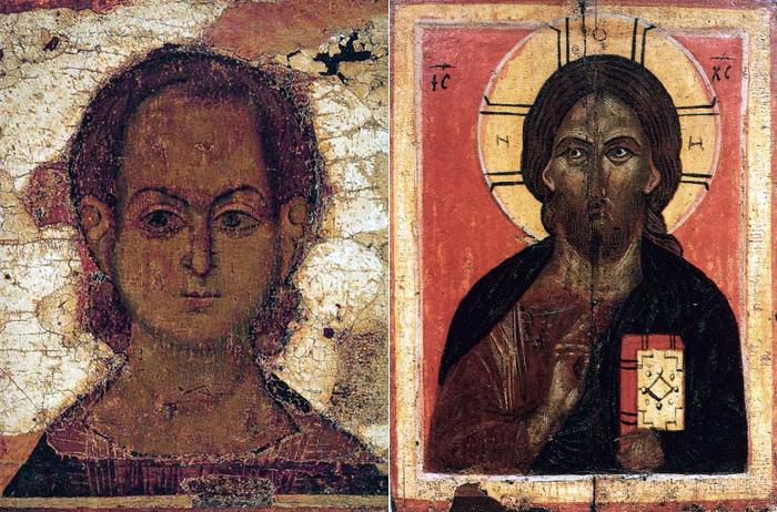 (Рис. 4.1) Иконография Христа: Спас Эммануил. Икона XII в. (фрагмент); /  Господь Вседержитель. Новгородская икона XIV в.