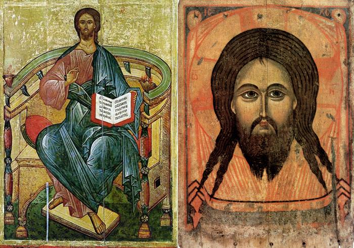 (Рис. 4.2) Иконография Христа:  Спас на Престоле. Икона XV в.; / Нерукотворенный образ Спаса. Икона XIV в.