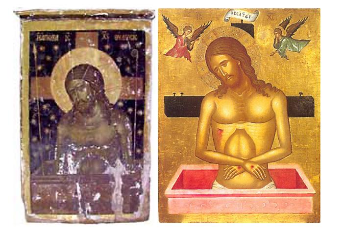 Иконография умершего Спасителя на фоне креста.