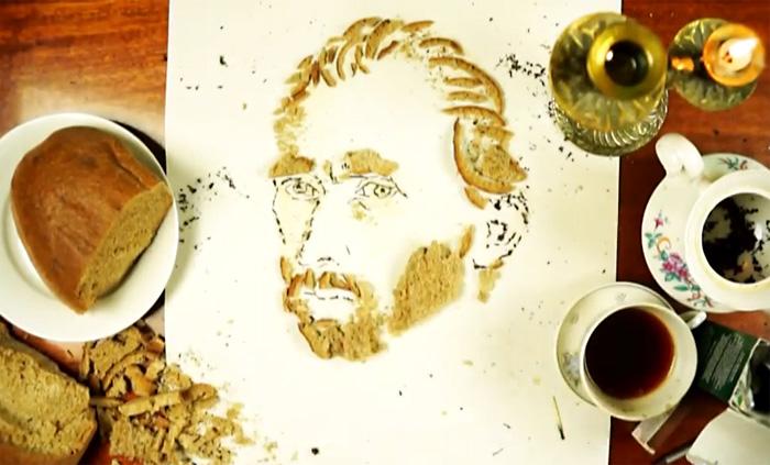 Художник Павел Бондар создает портреты из еды