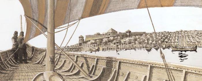 Скандинавы подплывают к большому городу в Европе эпохи викингов - взгляд художника. Картина, выполненная акварелью и гуашью, художник Свен Улоф Эрeн.