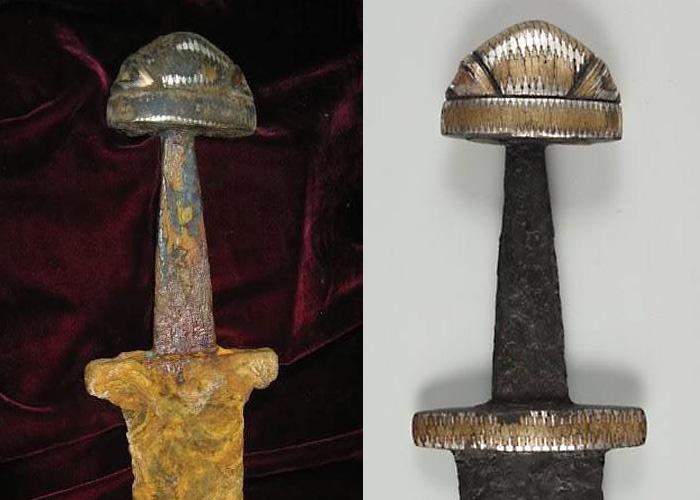Древнерусский меч типа V, найденный на дне Днепра у острова Хортица в Запорожье (Национальный музей истории Украины, г. Киев): до реставрации / после реставрации.