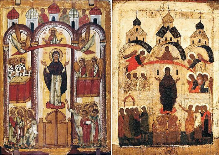 Ангелы поддерживающие покров над головой Богородицы на иконах XV в.