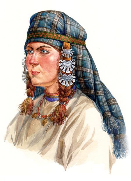 Женщина вятичей в ленточном уборе  с височными кольцами. По материалам курганов  вятичей из Подмосковтя, конец XI века - XII век.