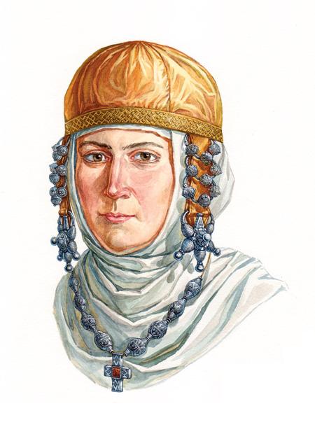 Древнерусская женщина в уборе с колтами и трехбусинными кольцами, XII век. По материалам клада из Старой Рязани 1970 года.