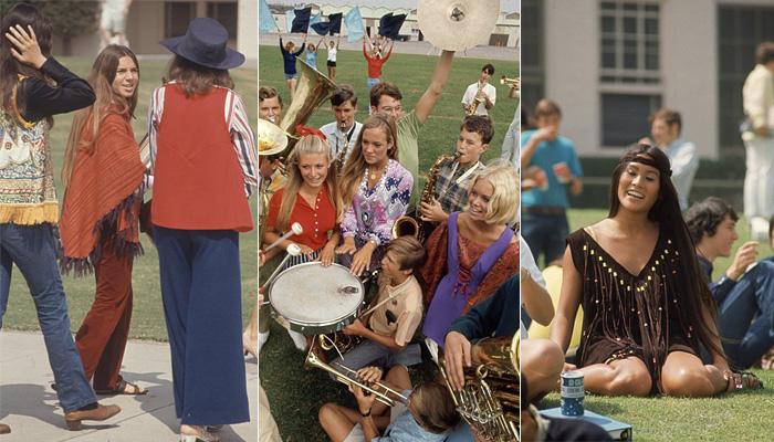 Стиль одежды старшеклассников эпохи хиппи.