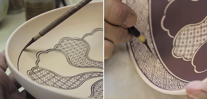 Аутентичная японская роспись по керамике.