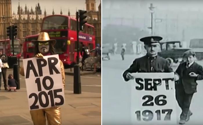 Лондон в хрониках XIX-XX веков с параллельным наложением современных съемок тех же мест.