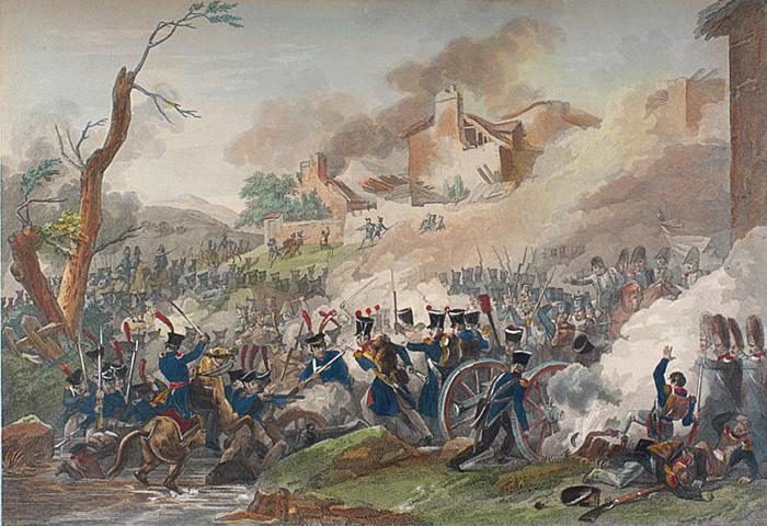 Раскрашенная гравюра XIX века. Битва под Лейпцигом.
