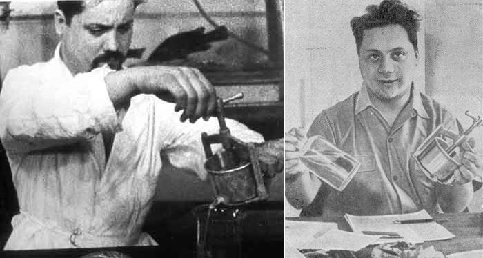 """Ален Бомбар с ручным прессом, которым он выжимал из рыбы """"сок"""