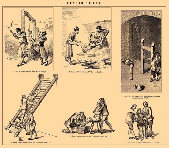 Орудия пыток. Иллюстрация из энциклопедического словаря Брокгауза и Ефрона (1890—1907)