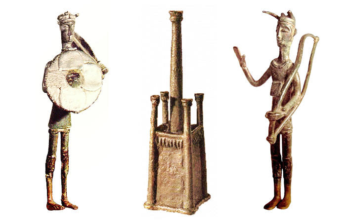 Фигурки бронзетто. Воин, модель нурага, житель Сардинии в шлеме.