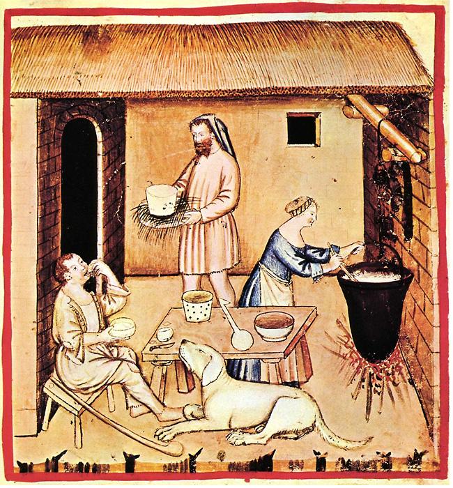 Изготовление сыра XIV век