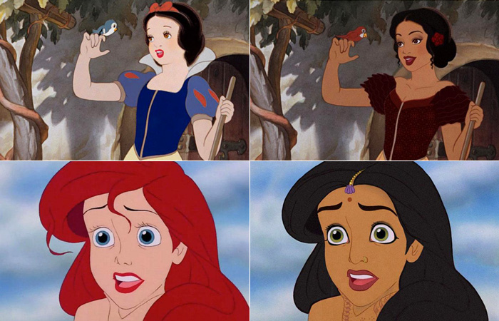 Как бы выглядели диснеевские героини, если бы принадлежали другой расе.