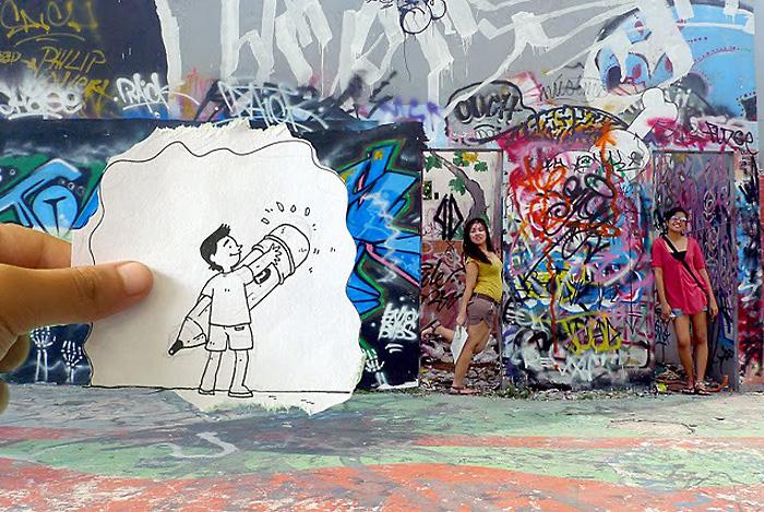 Художники-карикатуристы за чистоту на стенах родного города.
