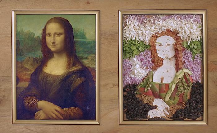 Мона Лиза из еды.