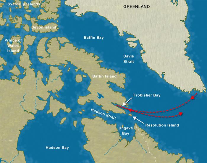 Карта путешествия Фробишера до Баффиновой земли