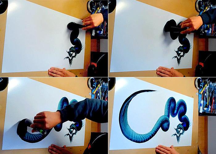 Как нарисовать дракона одним мазком.