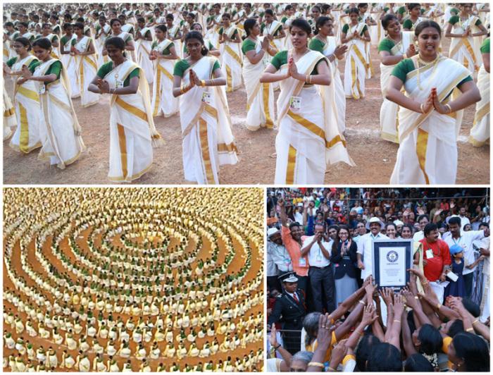 Самый массовый индийский танец Каикоттикали, исполненный 5211 танцовщицами.