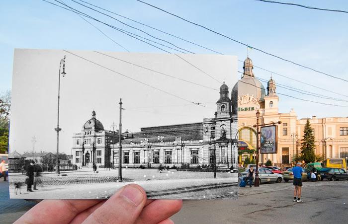 Главный железнодорожный вокзал города Львова. Так здание выглядело по завершении его строительства в 1904 году.