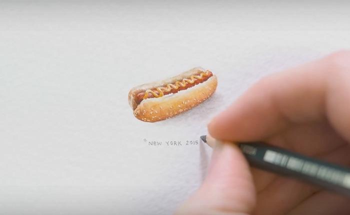 Современные миниатюры: детализированный крошечный хот-дог.