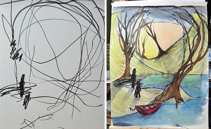 Как мама немного подредактировала рисунок своего ребенка.