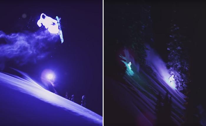 Лыжники в светодиодных костюмах украсили ночной пейзаж.