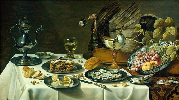 Питер Клас. Натюрморт с турецким пирогом и кубком Наутилус, 1627