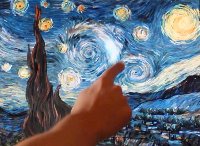 Ожившая картина Ванг Гога «Звездная ночь» .