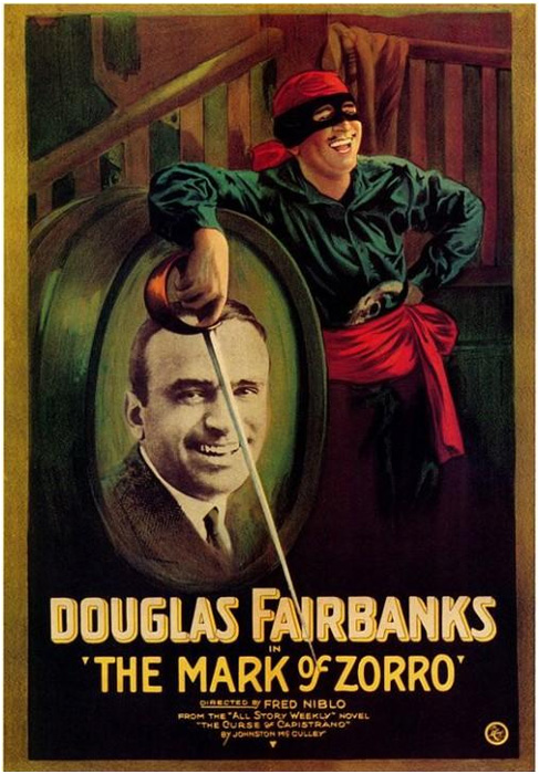 Афиша первого фильма о приключениях Зорро, 1920 год