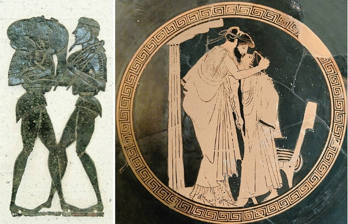 Тема мужеложства на артефактах из храма Гермеса и Афродиты в Като Сайм (V век до н.э.).