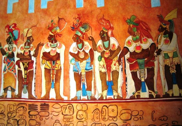 Копия фрески из храма майя в Четумаль (Мексика).