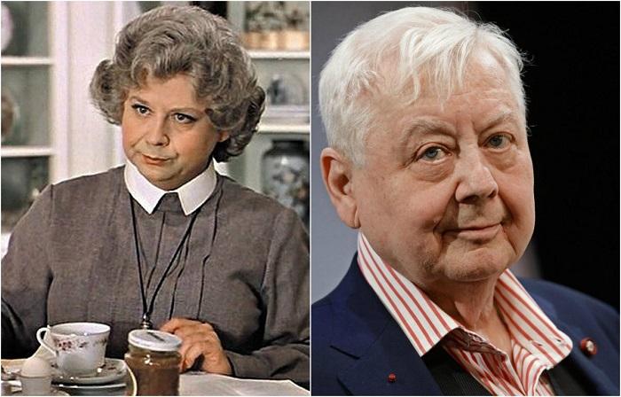 Потрясающе перевоплотился актер в зловредную мисс Эндрю — старую няню мистера Бэнкса.