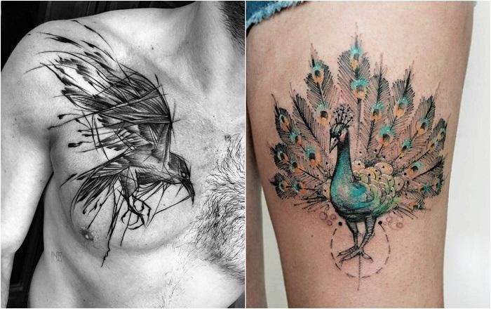 Татуировки с изображением птиц.